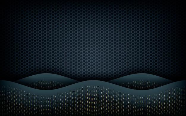 Couche de vagues sur fond noir hexagonal Vecteur Premium