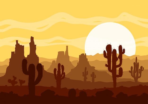 Coucher de soleil dans le désert de pierre avec des cactus et des montagnes. Vecteur Premium