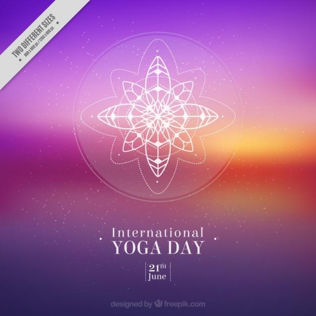 Coucher de soleil flou yoga fond Vecteur gratuit