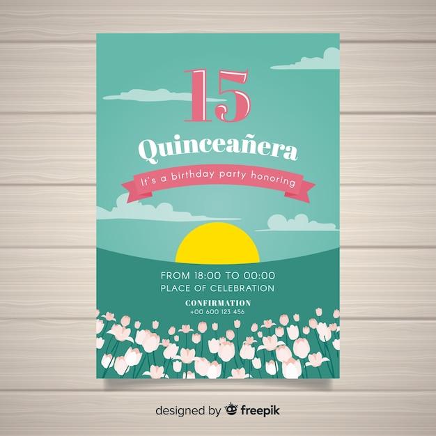 Coucher de soleil modèle de carte quinceanera Vecteur gratuit