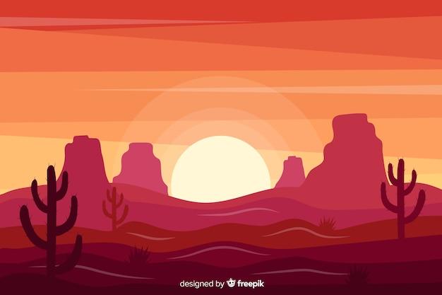 Coucher de soleil paysage désert rose Vecteur gratuit