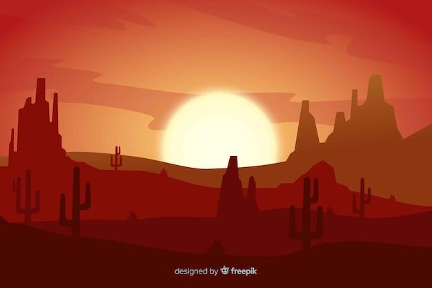 Coucher de soleil paysage désertique avec dégradé de couleurs Vecteur gratuit