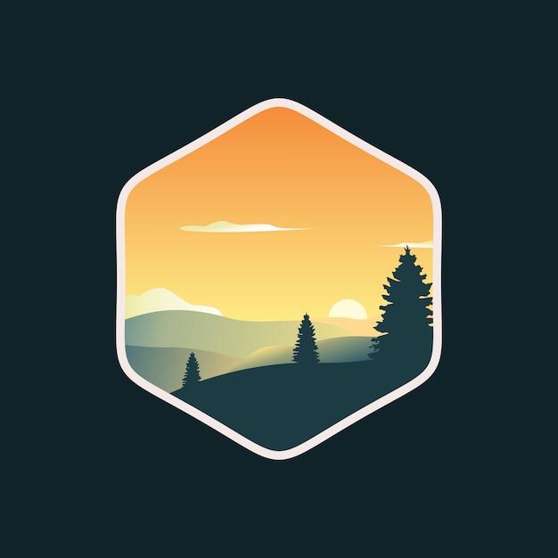 Coucher De Soleil Pins Arbres Paysage Logo Design Illustration Vectorielle Vecteur Premium