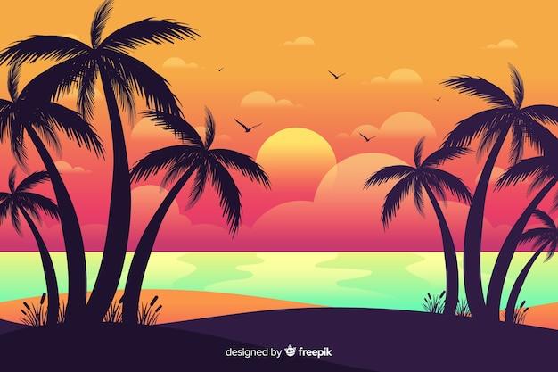 Coucher de soleil sur la plage avec des silhouettes de palmiers Vecteur gratuit