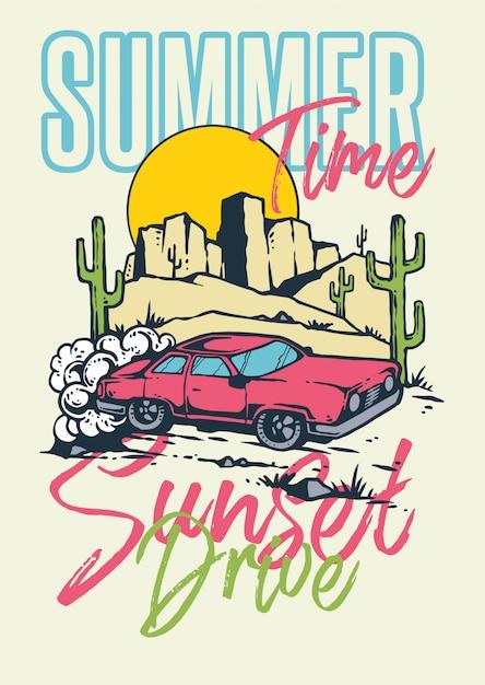 Coucher de soleil voiture muscle drive sur la montagne et le désert avec fond de coucher de soleil en illustration rétro de style 80 Vecteur Premium