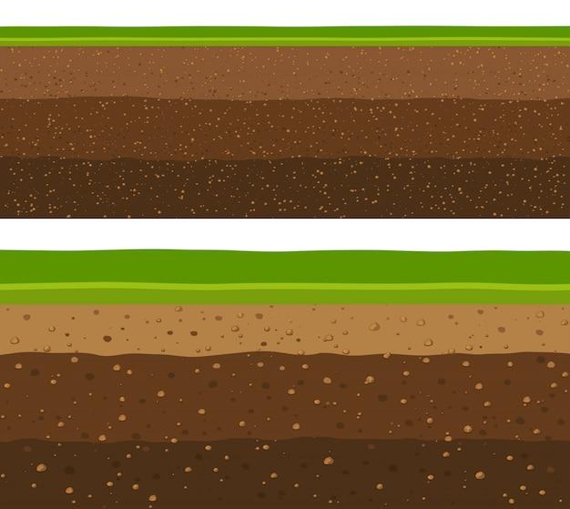 Couches d'herbe avec des couches de terre souterraines. Vecteur Premium