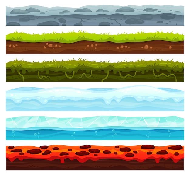 Couches De Terre Sans Soudure. Dirt Ground Landscape Asset Game, Glace Recouverte De Neige Et Sol De Lave. Bande Dessinée, Surface Vecteur Vecteur Premium