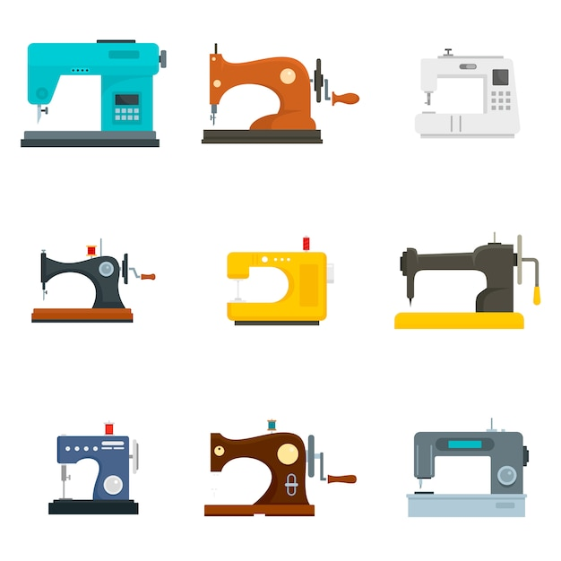 Coudre Le Jeu D'icônes De La Machine Vecteur Premium