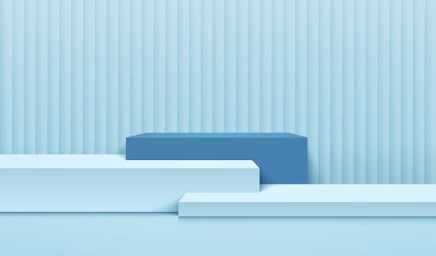 Couleur Bleue D'affichage De Cube Abstrait Pour La Présentation Du Produit Vecteur Premium