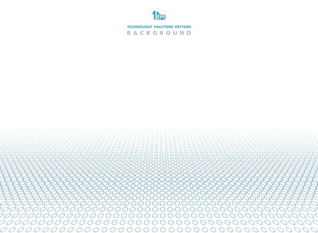 Couleur bleue de la technologie de fond de cercle de demi-teintes. Vecteur Premium