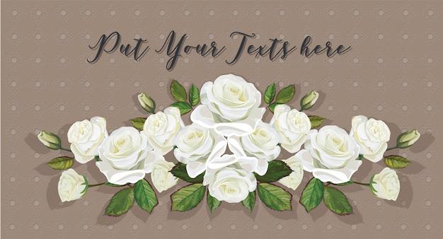 Couleur de bouquet blanc de roses sur fond d'art en ligne thaï Vecteur Premium