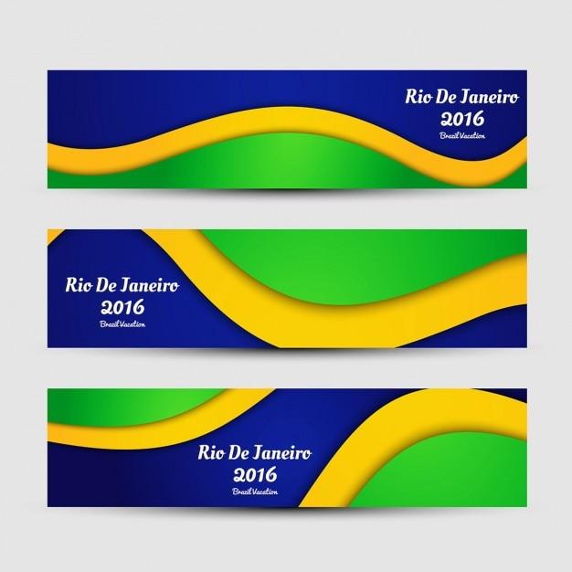 Couleur brésil bannières brillantes Vecteur gratuit