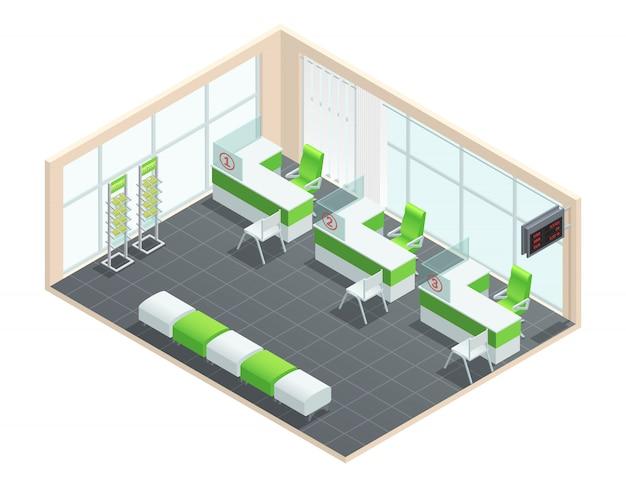 Couleur concept isométrique de la salle de directeur de banque Vecteur gratuit