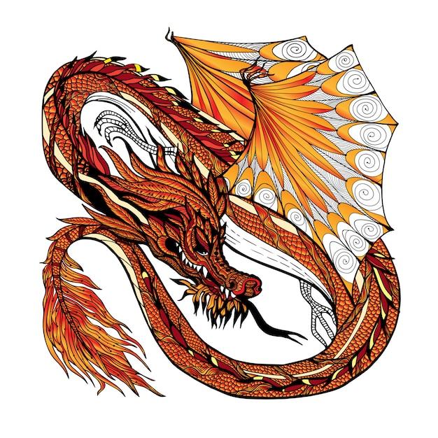 Couleur de croquis de dragon Vecteur gratuit