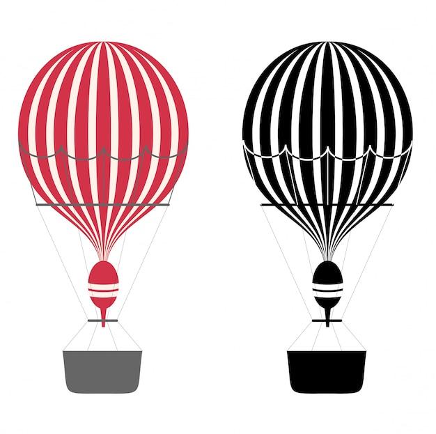 Couleur De Dessin Animé Et Ballons à Air Noir Et Blanc. Montgolfières. Aérostat Sur Fond Blanc. . Vecteur Premium