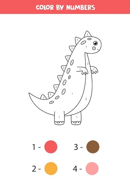 Couleur Dinosaure Mignon De Bande Dessinée Par Numéros. Coloriage Pour Les Enfants. Vecteur Premium