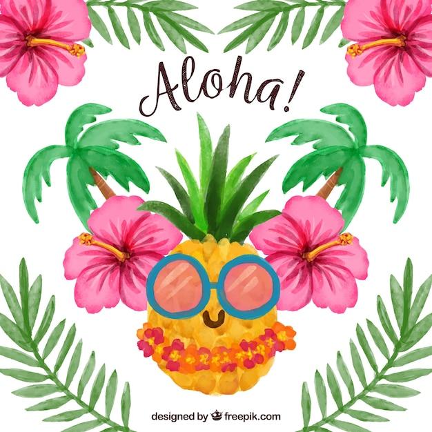 Couleur De L'eau Aloha Pinapple Background Vecteur gratuit
