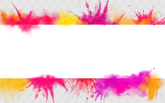 La couleur des éclaboussures de bannière holi peint une bordure de colorant ronde Vecteur gratuit