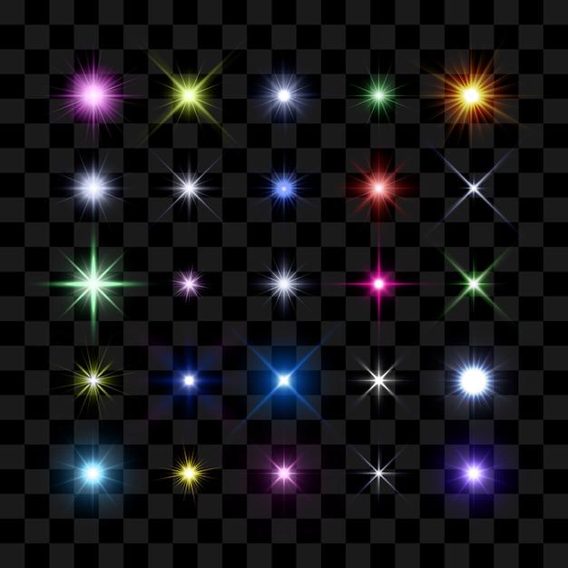 Couleur éclat D'étoile, étoiles Et étincelles éclatantes éclatent Vecteur Premium