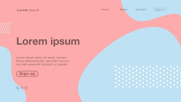 Couleur de fond abstrait bleu rose pastel rose pour la page d'accueil Vecteur Premium