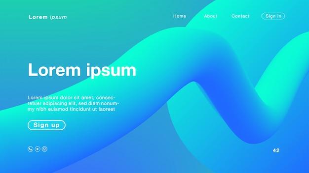 Couleur de fond abstrait bleu-vert pour la page d'accueil Vecteur Premium