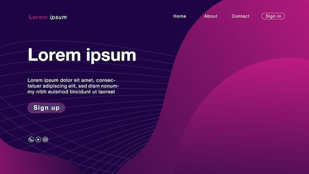 Couleur de fond courbe rose abstraite pour la page d'accueil Vecteur Premium
