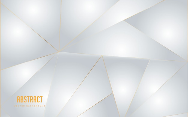 Couleur géométrique blanche et grise abstrait avec ligne d'or Vecteur Premium