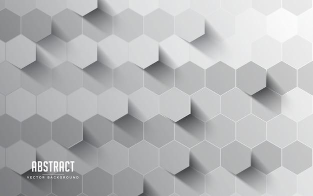 Couleur gris et blanc abstrait de fond d'hexagone. moderne minimal eps 10 Vecteur Premium
