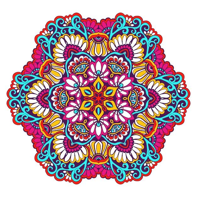 Couleur mandala décorative Vecteur gratuit