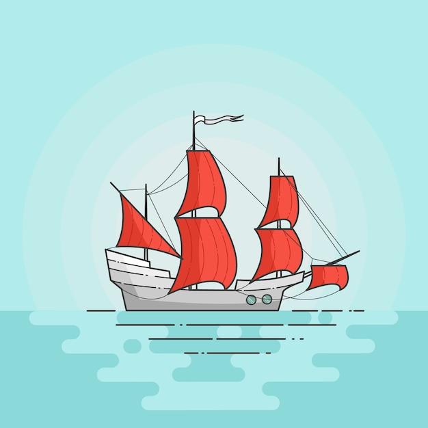 Couleur Navire A Voiles Rouges En Mer Isole Sur Fond Blanc Banniere De Voyage Avec Voilier