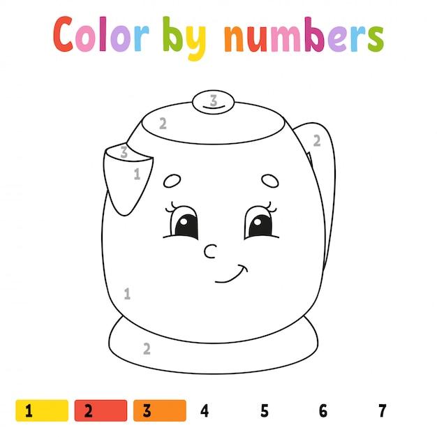 Couleur par numéros. livre de coloriage pour les enfants. Vecteur Premium