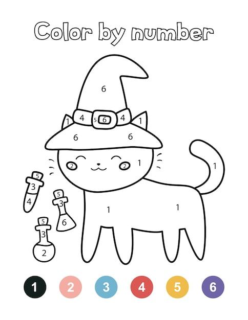Dessin A Numero Halloween.Couleur Par Numeros Pour Les Enfants D Age Prescolaire Chat D Halloween Mignon Avec Chapeau De Sorciere Et Potions Vecteur Premium
