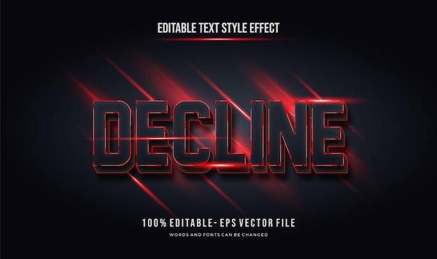 Couleur Rouge Noir Futuriste. Effet De Style De Texte Modifiable Vecteur Premium