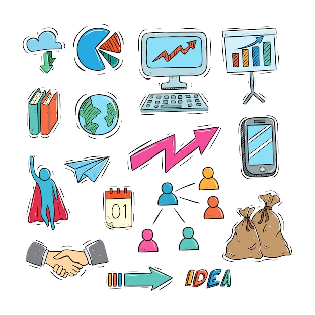 Couleur style doodle de la collection d'icônes d'affaires Vecteur Premium