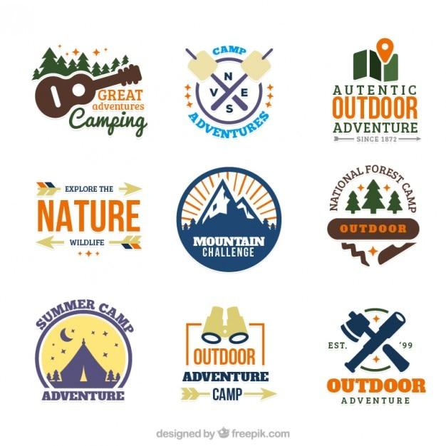 Couleurs des aiguilles dessiné des logos du camp Vecteur gratuit