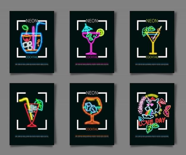 Couleurs au néon sur fond noir illustration d'une soirée cocktail. Vecteur Premium