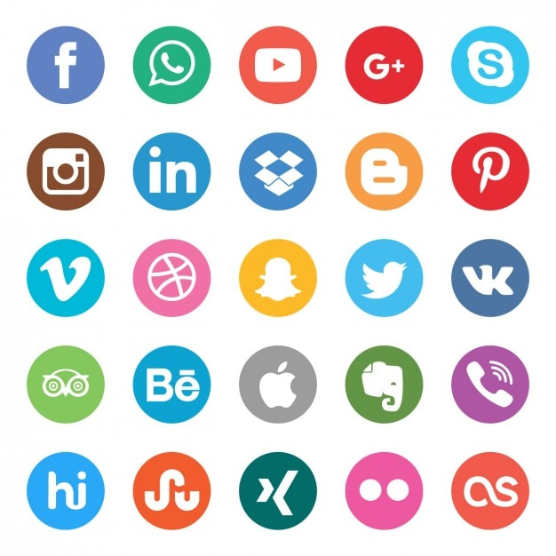 Couleurs boutons sociaux fixés Vecteur gratuit