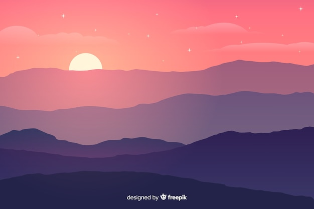Couleurs Dégradées Montagnes Avec Soleil Vecteur Premium