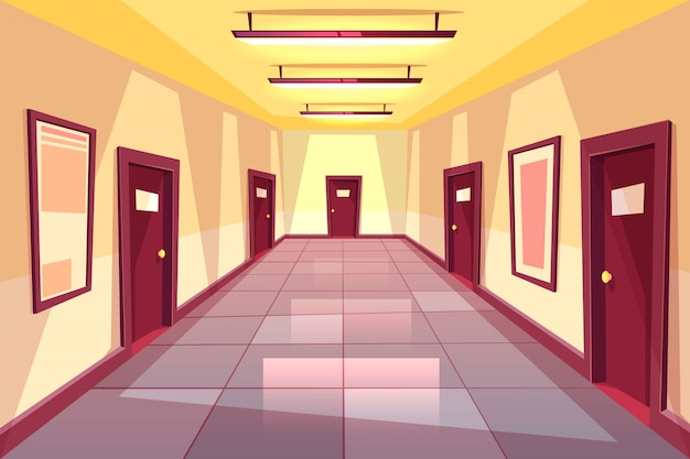 Couloir de dessins animés, couloir avec plusieurs portes - collège, université ou immeuble de bureaux. Vecteur gratuit