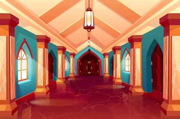 Couloir du château ou hôtel historique Vecteur gratuit