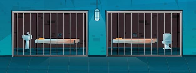 Couloir De Prison Avec Deux Chambres Simples En Style Cartoon Vecteur Premium