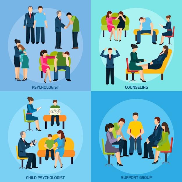 Counseling Support 4 Icônes Plates Square Vecteur gratuit