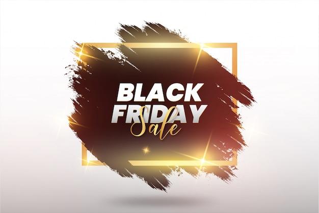 Coup de pinceau abstrait vendredi noir moderne avec cadre doré Vecteur gratuit