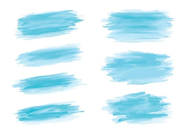 Coup de pinceau aquarelle bleu sur fond blanc Vecteur Premium