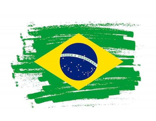 Coup de pinceau drapeau du brésil Vecteur Premium