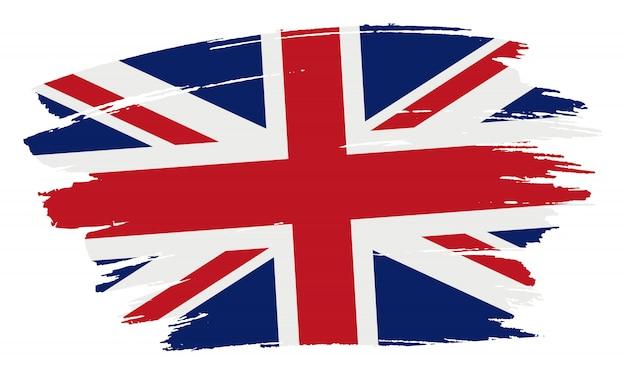 Coup de pinceau drapeau du royaume-uni Vecteur Premium