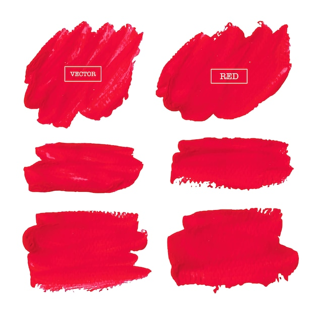 Coup de pinceau rouge isolé sur fond blanc, illustration vectorielle. Vecteur Premium