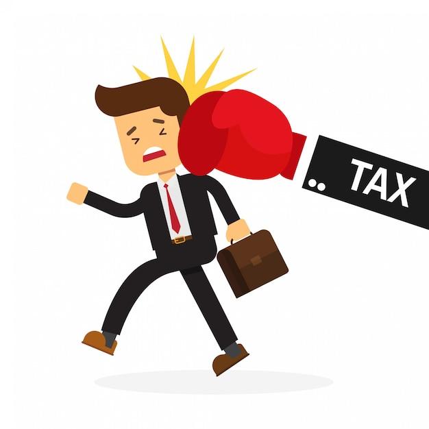 Coup de poing d'homme d'affaires à la main de l'impôt Vecteur Premium