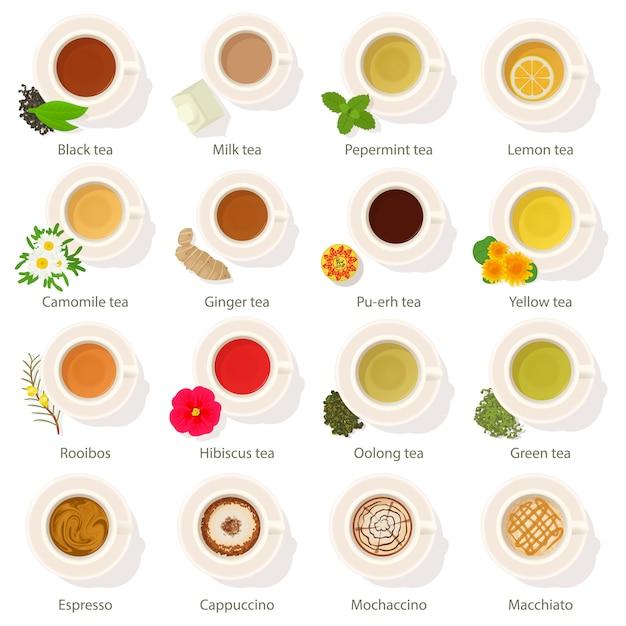 Coupe boire vue de dessus icônes définies. bande dessinée illustration d'icônes vectorielles plat 16 tasse boisson vue de dessus pour le web Vecteur Premium
