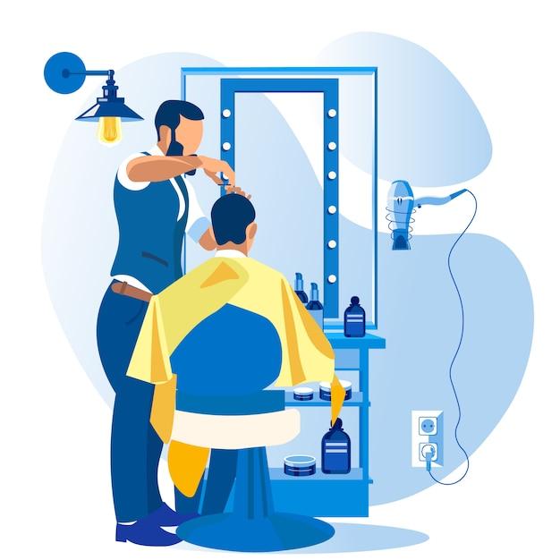 Coupe-cheveux Professionnel Donnant Une Coupe De Cheveux Au Client Vecteur Premium